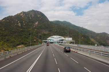 Entering a long tunnel in Kowloon.