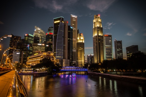 Singapore has a pretty skyline by the water.