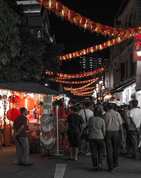 Chinatown lanterns by night.