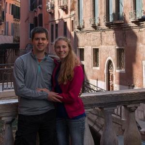 Posing on a bridge in Venice, Italy.