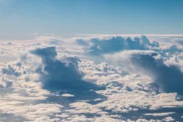 These are perfect examples of the anvil-shape that thunderstorm clouds make. The hot air in the middle rises high above the other clouds until it's too heavy for the surrounding air. It flattens out, is carried by the wind, and falls back down where the moisture gathers together and eventually forms raindrops.