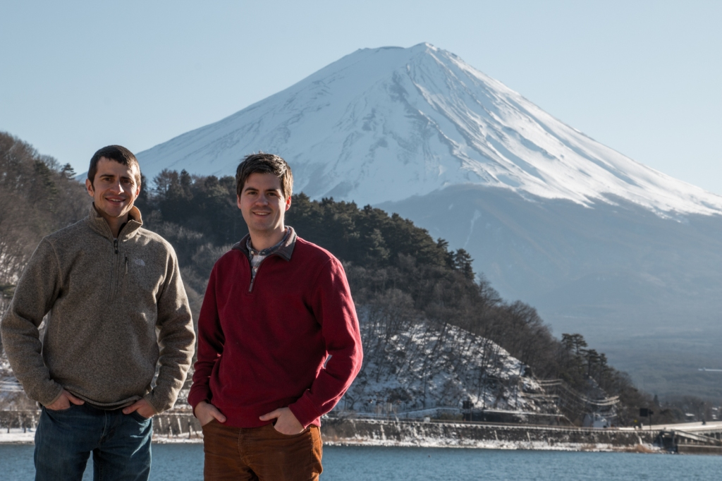 Dennis and Drew in Kawaguchiko in front of Mt. Fuji, the iconic volcano on the outskirts of Tokyo.
