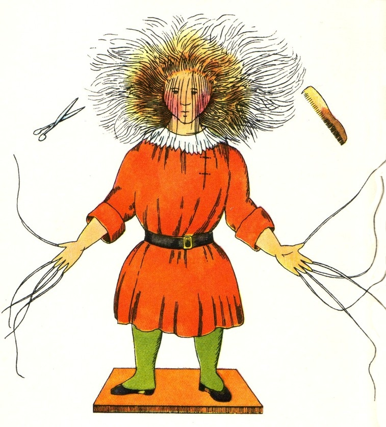 Struwwelpeter's stories frighten German youth into submission and obedience.