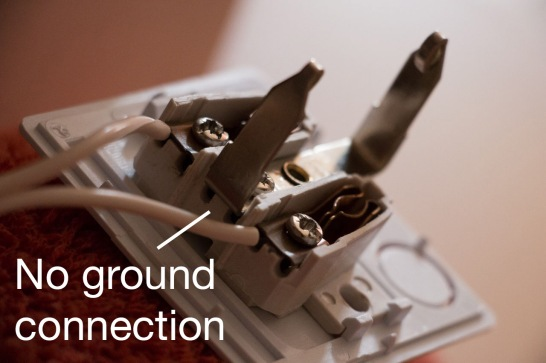 The absence of grounding on this connector makes the dryer a shock hazard.