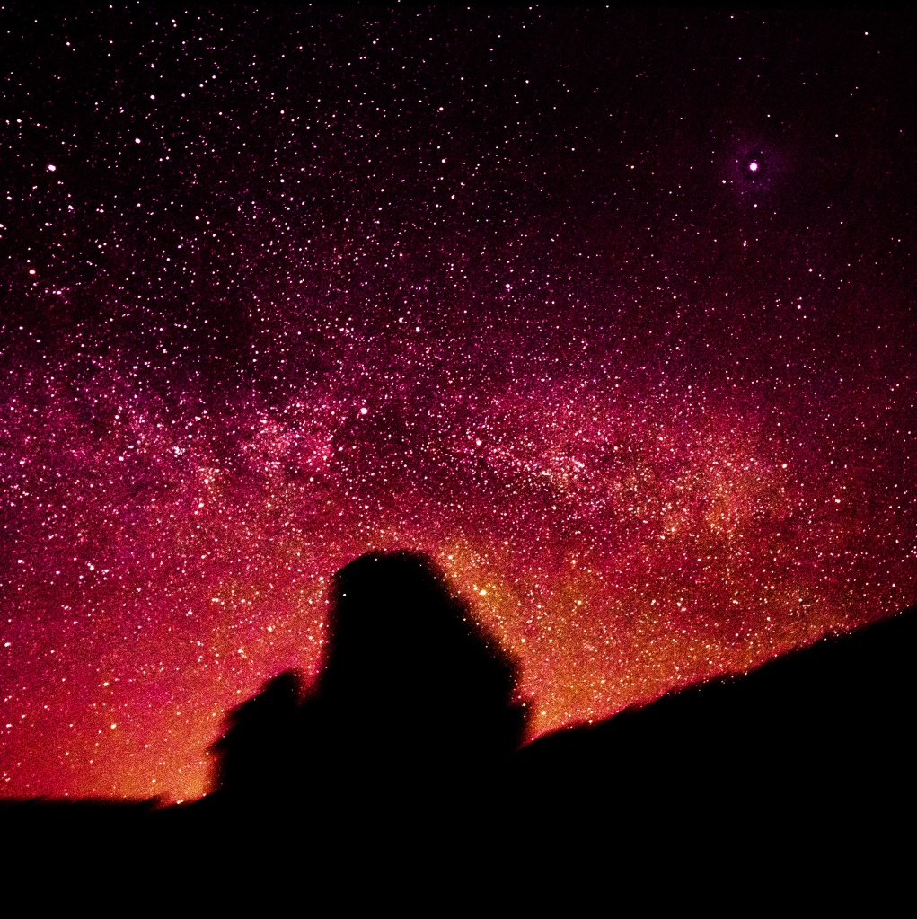 On the cusp of midnight the Milky Way was starting to reach around the horizon with its mighty red arm.