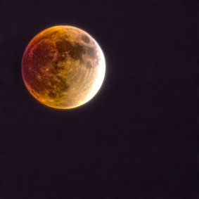 An image stack of 32 images taken in sequence of the blood moon. It isn't as good as I was hoping it would be, c'est la vie