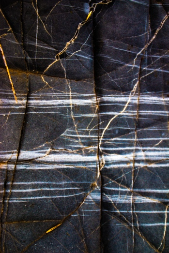 Textures in the rock: smooth and marbled.