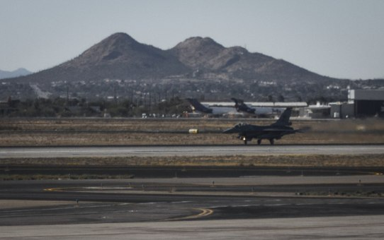 An F-16 takes off from the Tucson airport for a training sortie.
