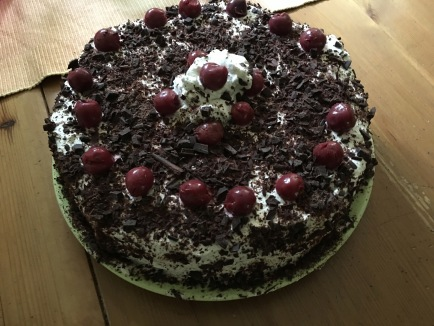 even without my normal tools i was able to make my signature Black Forest Cherry Cake - in the Black Forest