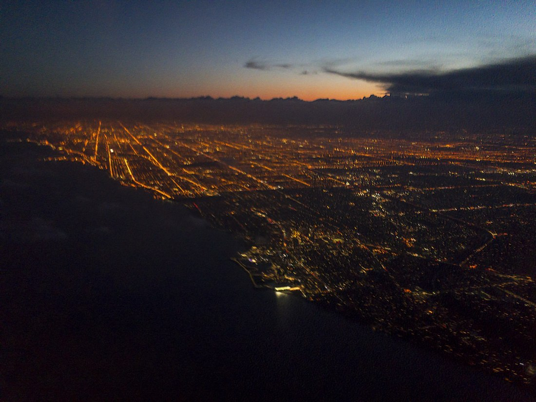 Chicago on approach over Lake Michigan